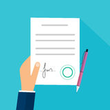 Business man hand holding contract agreement vector illustration Stock Photography