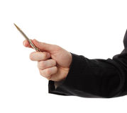 Business man hand holding pen Stock Photo