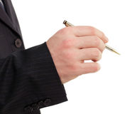 Business man hand holding pen Royalty Free Stock Photos