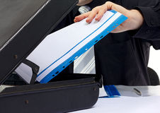 Business man hand holding some documents Stock Image