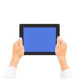 Business man hand holding tablet PC. Isolated Stock Images