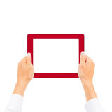 Business man hand holding tablet PC. Isolated Royalty Free Stock Images