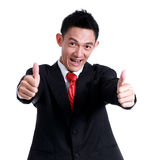 Business man hand icon like and smile on white background. Stock Image