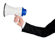 Business man hand with loudspeaker Royalty Free Stock Image
