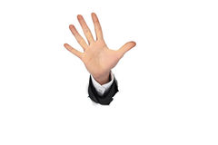 Business man hand in the paper whole Stock Photos
