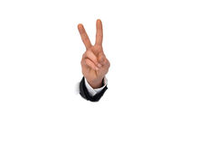 Business man hand in the paper whole Royalty Free Stock Photos