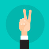 Business Man Hand Peace Victory Sign Gesture Stock Photography