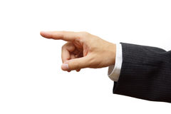 Business man hand pointing or selecting. Ready for sample text.  Royalty Free Stock Photos