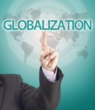 Business man hand pointing to globalization word. Gradient background with world map texture vector illustration