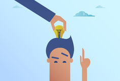 Business Man Hand Put Light Bulb In Head New Idea Concept. Flat Vector Illustration Royalty Free Stock Image