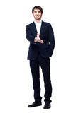 Business man with hand ready to seal a deal. A business man with an open hand ready to seal a deal, isolated on white Royalty Free Stock Photo