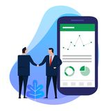 Business man hand shake with big smart phone shows analytics chart data pie financial information on screen. stock image