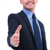 Business man hand shake focus Royalty Free Stock Images