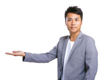 Business man hand show something Stock Images