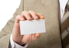 Business man hand show visiting card Stock Images
