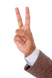 Business man hand showing success. Isolated on withe background Royalty Free Stock Photography