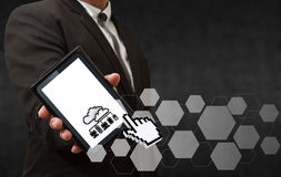 Business man hand shows 3d pixel cloud network stock image