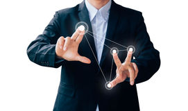 Business man hand sign press button about technology Stock Image