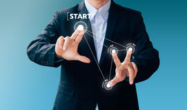 Business man hand sign press button about technology Stock Images