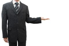 Business man hand sign in suit isolated Stock Photo