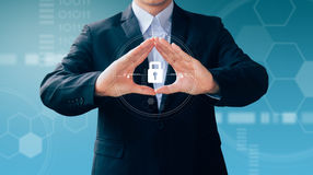 Business man hand sign about technology security virtual screen, Royalty Free Stock Image
