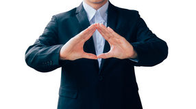 Business man hand sign about technology security virtual screen, Royalty Free Stock Photos