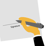 Business man hand signing contract with signature Royalty Free Stock Photo