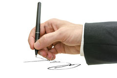 Business man hand signing on a virtual whiteboard Stock Photo