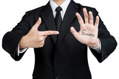 Business man hand success isolated. Business man hand success in isolated Stock Photography