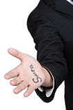 Business man hand success isolated. Business man hand success in isolated Stock Image