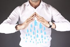 Business man hand team people in screen royalty free stock photography