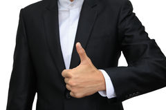 Business man hand with thumb up isolated on white Stock Photography
