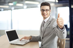 Business man hand with thumb up Stock Image