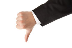 Business man hand thumbs down Royalty Free Stock Photography