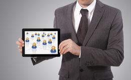 Touch tablet business network Royalty Free Stock Images