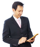 Business man hand using tablet PC. On white background Stock Photo