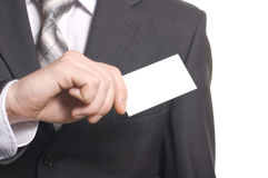 Business man hand with visit card Royalty Free Stock Images