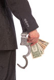 Business man in handcuffs arrested for bribe Stock Photos
