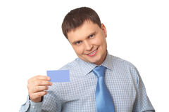 Business man handing a blank business card Stock Image