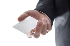 Business man handing a blank visiting card Stock Photos