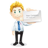Business man handing a business card. Stock Image
