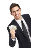 Business man hands dollars Stock Images