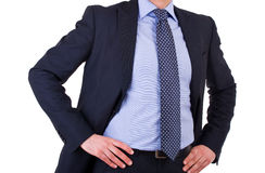 Businessman with hands on his hips. Royalty Free Stock Images