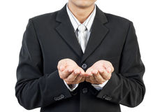 Business man and hands holding stock images
