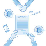 Business man hands holding contract, signing of a. Business man hands holding contract and pen, signing of a treaty business contract flat design vector linear Royalty Free Stock Images