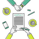Business man hands holding contract, signing of a. Business man hands holding contract and pen, signing of a treaty business contract flat design vector linear Stock Photography