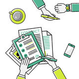 Business man hands holding contract, signing of a. Business man hands holding contract and pen, signing of a treaty business contract flat design vector linear royalty free illustration