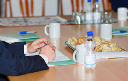 Business man hands on the office table Royalty Free Stock Photo