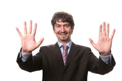 Business man with hands open. Isolated on white background royalty free stock photo