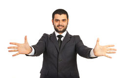 Business man with hands stretched Royalty Free Stock Photos